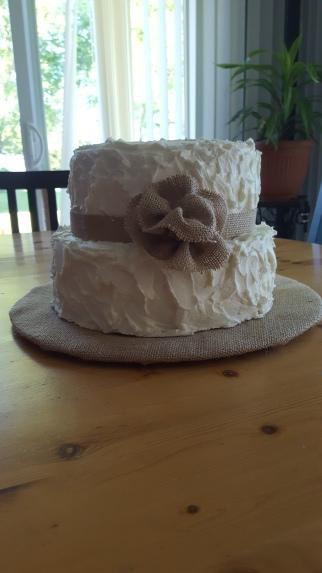 Burlap Shower Cake